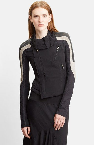 Rick Owens Mixed Silk Georgette & Leather Moto Jacket available at #Nordstrom