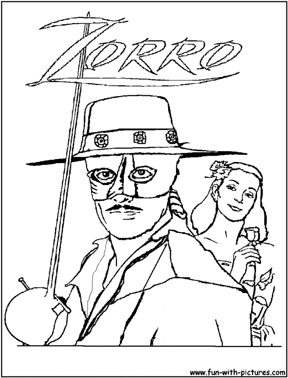 Zorro coloring pages online cartoon pinterest for Zoro coloring pages