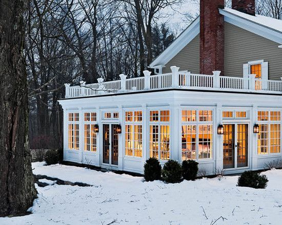Sunroom Or A Screened In Porch With Deck On Top