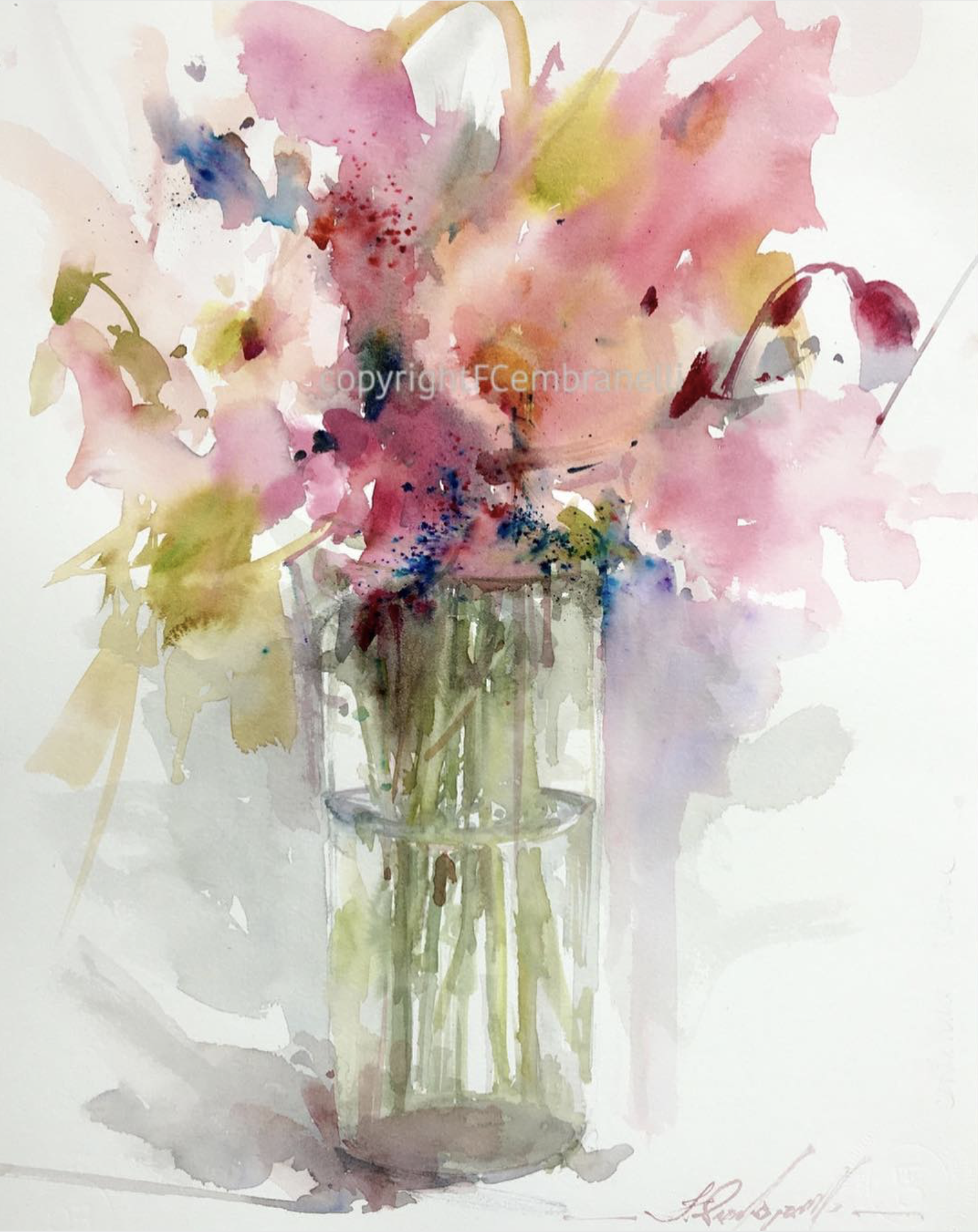 Fabio Cembranelli Watercolor Flowers Paintings Watercolor