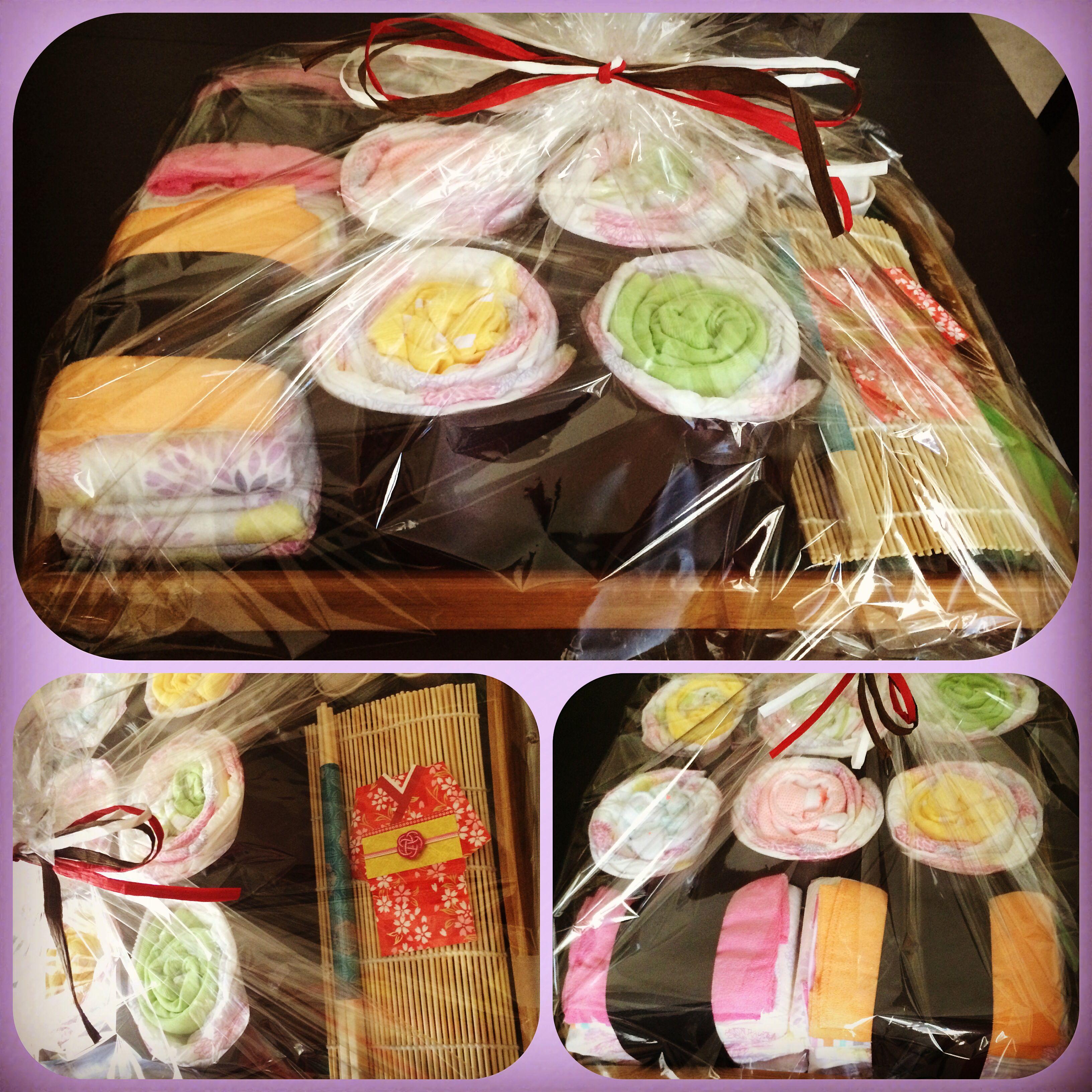 my first diaper cake, er... diaper sushi. - marilou  #sushi #diapercake #japan #japanese #baby #babyshower