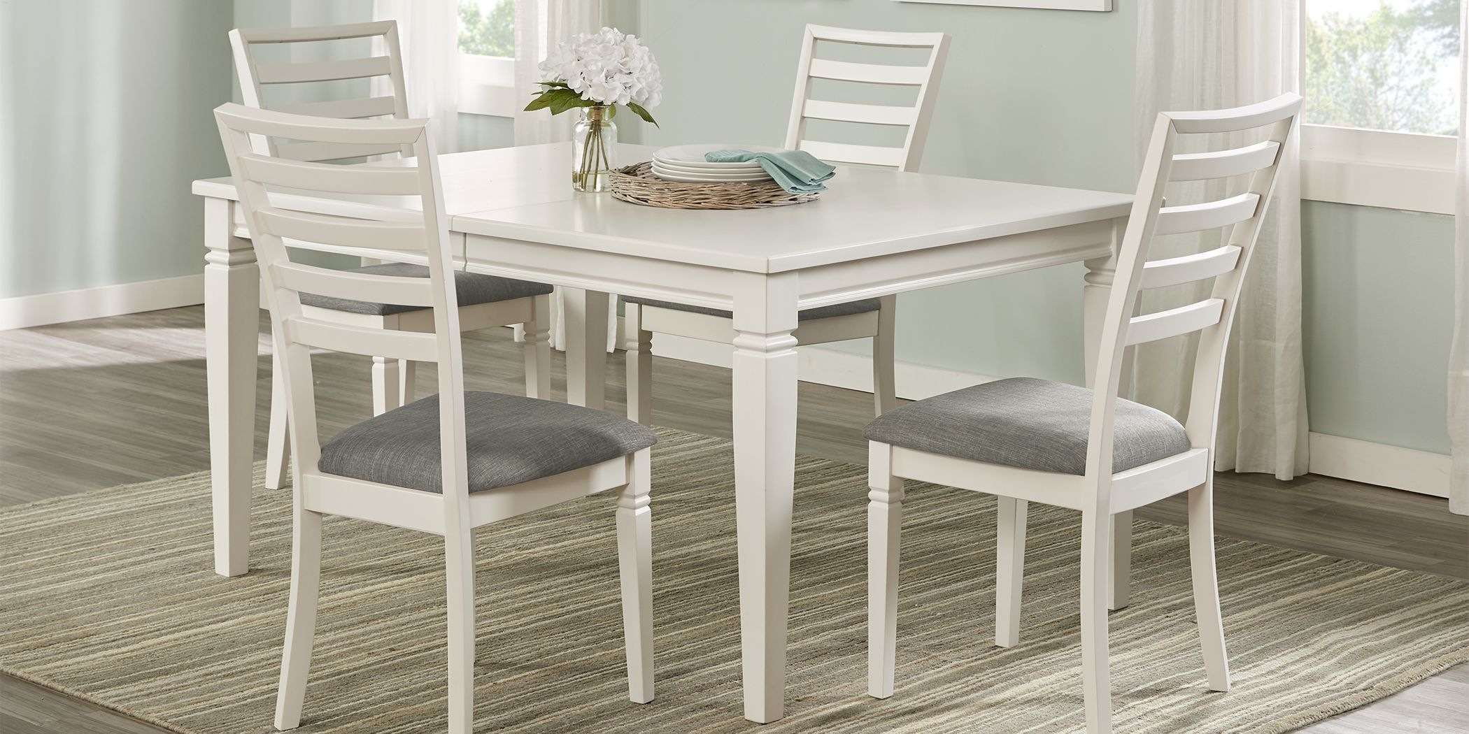 Riverdale White 5 Pc Rectangle Dining Room With Ladder Back Chairs