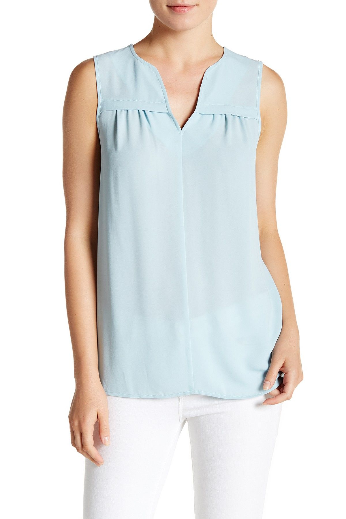 8d5a00aed414b9 Sleeveless Pleat Front V-Neck Tank by Pleione on  nordstrom rack