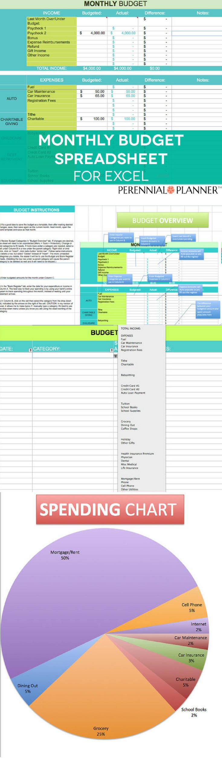 monthly budget spreadsheet  household money tracker