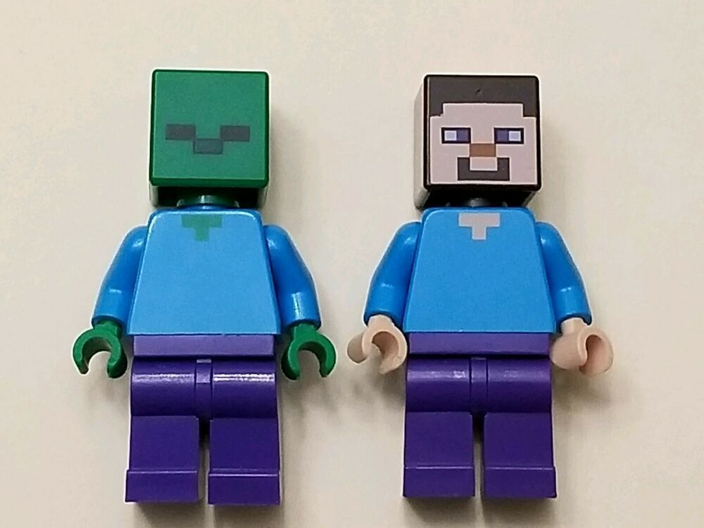 Lego Minecraft Minifigure lot of 2 Steve and the Zombie