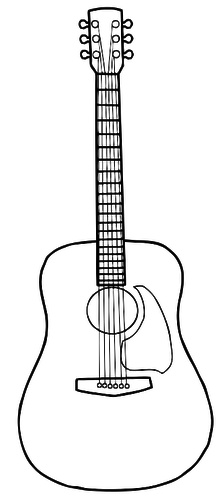 simple line art vector image of acoustic guitar art pinterest rh pinterest com Acoustic Guitar Outline acoustic guitar music clipart