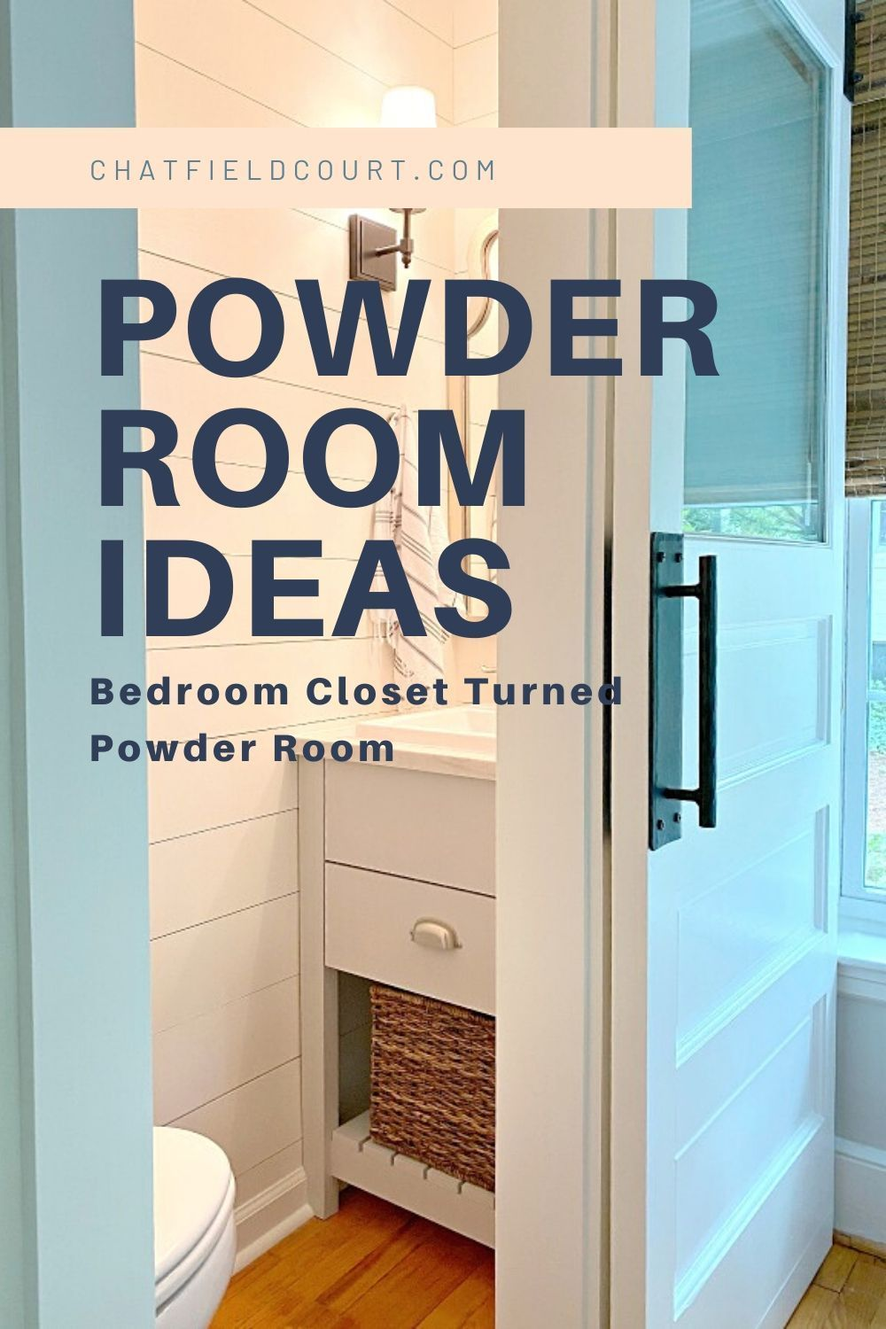 A guest bedroom closet turned into a small powder room with a DIY vanity, shiplap walls and a trash-picked farmhouse door.