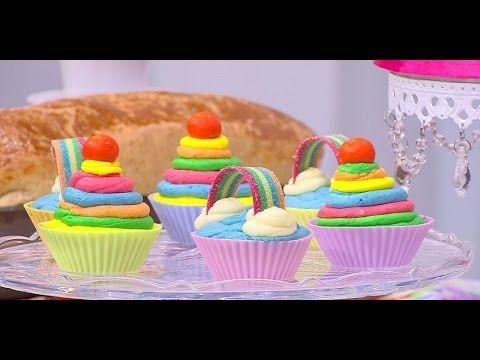 طريقة عمل كب كيك قوس قزح Projects To Try Desserts