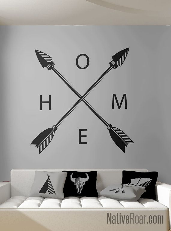 Crossing Arrows HOME Wall Decal Native American Decor Arrowhead Apache  Feather Cherokee Navajo Sioux Mexica Lakota