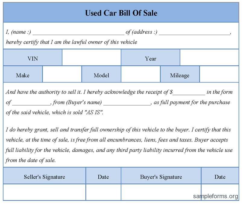 Printable Sample Free Car Bill Of Sale Template Form | Laywers