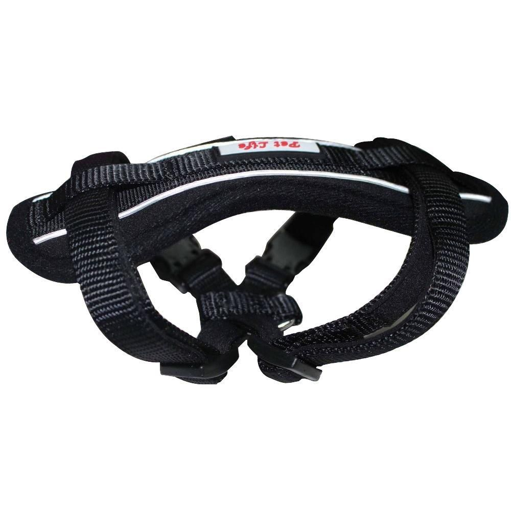 Large Black Mountaineer Chest Compression Adjustable Reflective Easy Pull Dog Harness