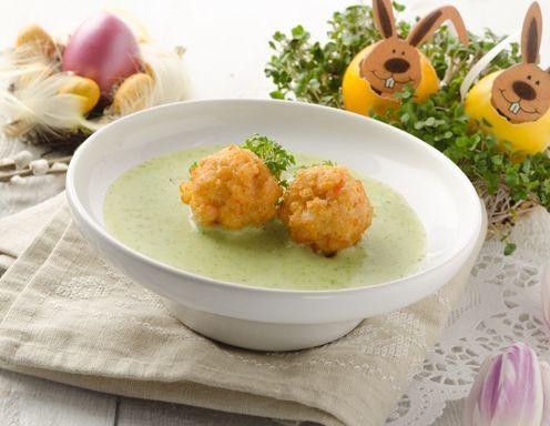 Kressesuppe mit Garnelenbällchen
