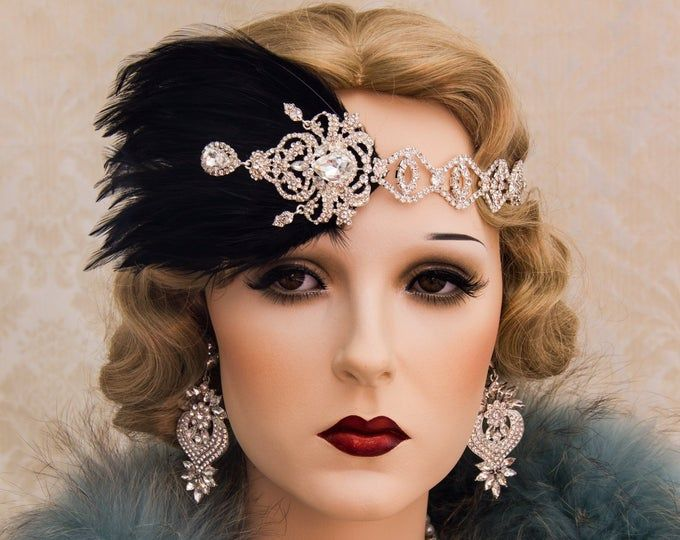 1920s Roaring Flapper Headbands, Great Gatsby Headpiece, Rhinestone Feather Headband, Gatsby Wedding Hair Accessories #1920smakeup