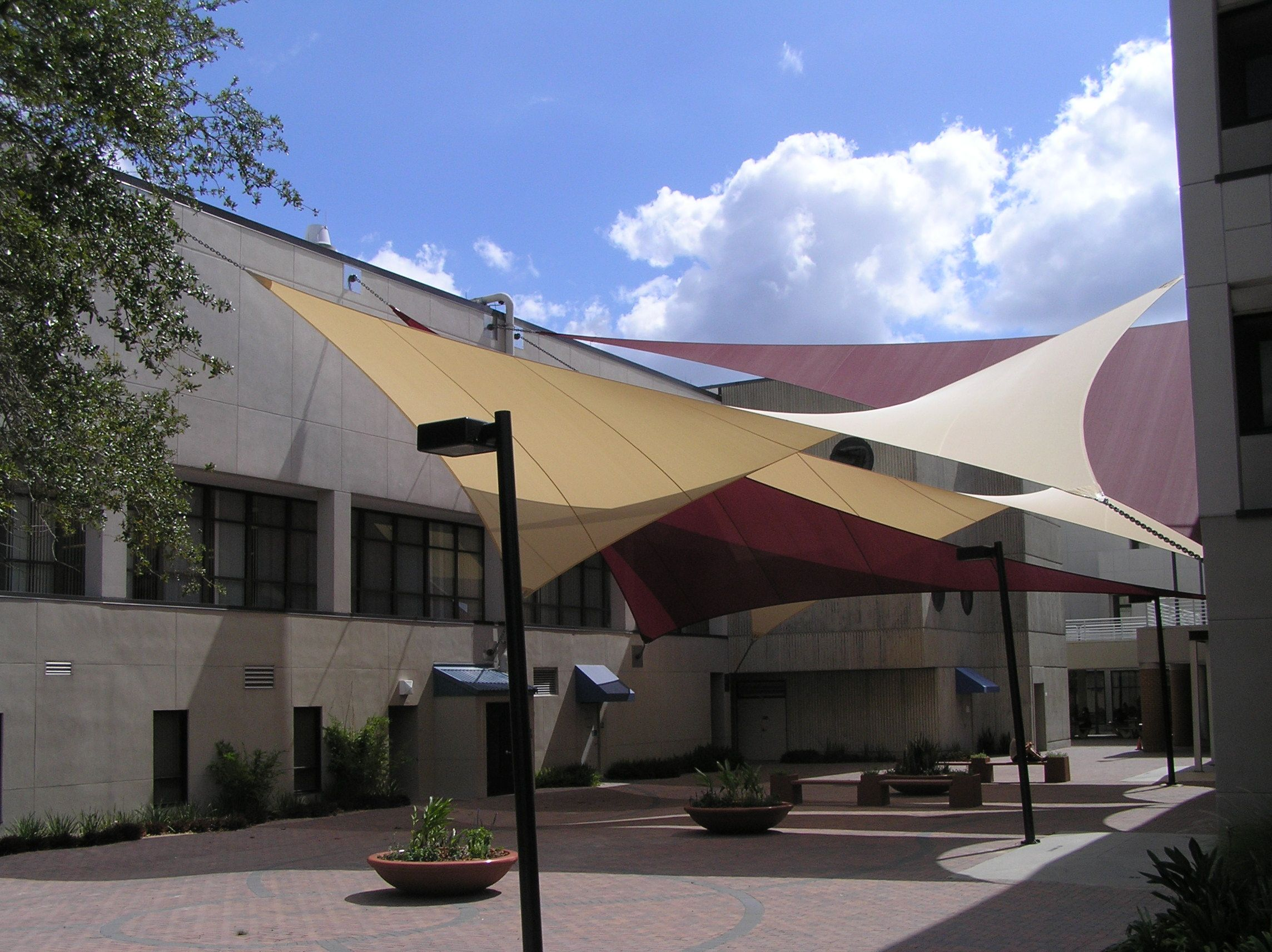 Fabric Shade Sails And Sun At Hillsborough Community College In Plant City Florida Architecture Custom Engineering By Light Weight