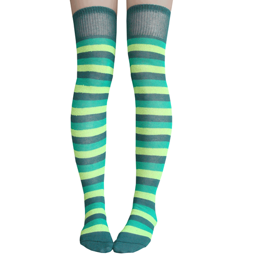 db68df73faac8 Green Striped Thigh Highs in 2019 | Socks | Striped thigh high socks ...
