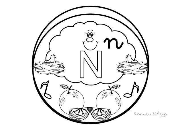 Mandalas del abecedario para colorear: Letra N