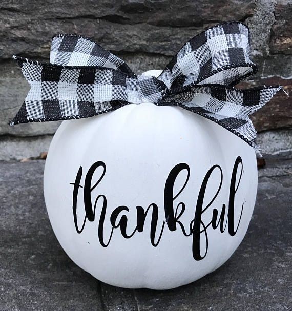 Photo of Farmhouse Inspired Painted Pumpkin, Thankful Pumpkin, Decorated Pumpkin, Farmhouse Fall Decor, Thanksgiving Pumpkin,Buffalo Check Pumpkin