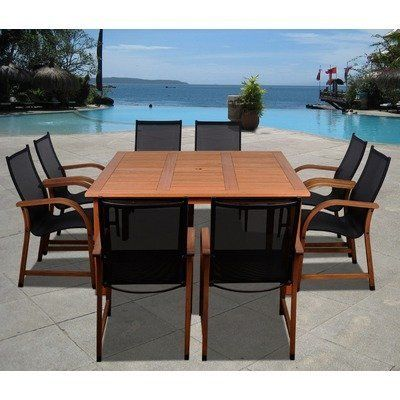 Amazonia Jersey 9 Piece Dining Set by International Home Miami. $1799.00. SC_426_8MANHA Features: -Material: 100pct high quality eucalyptus wood.-Free feron gard wood preservative for longest strap durability.-Works great against the effects of air pollution salt air, and mildew growth.-For best protection, perform this maintenance every season or as often as desired.-Great functionality. Includes: -Includes 1 Square table and 8 Armchairs. Assembly Instructions:...
