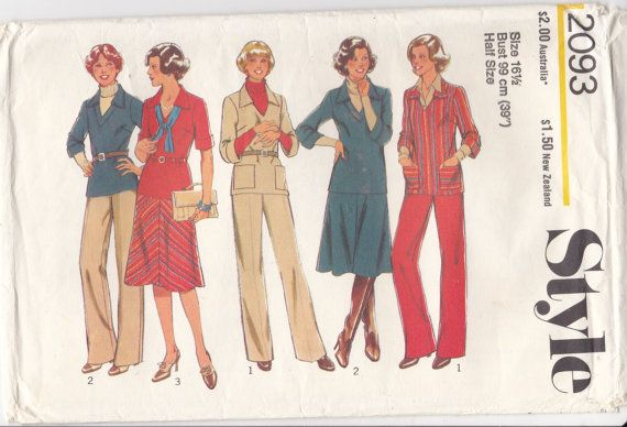 1970s Style  Sewing Pattern No 2093  for Top  by jennylouvintage