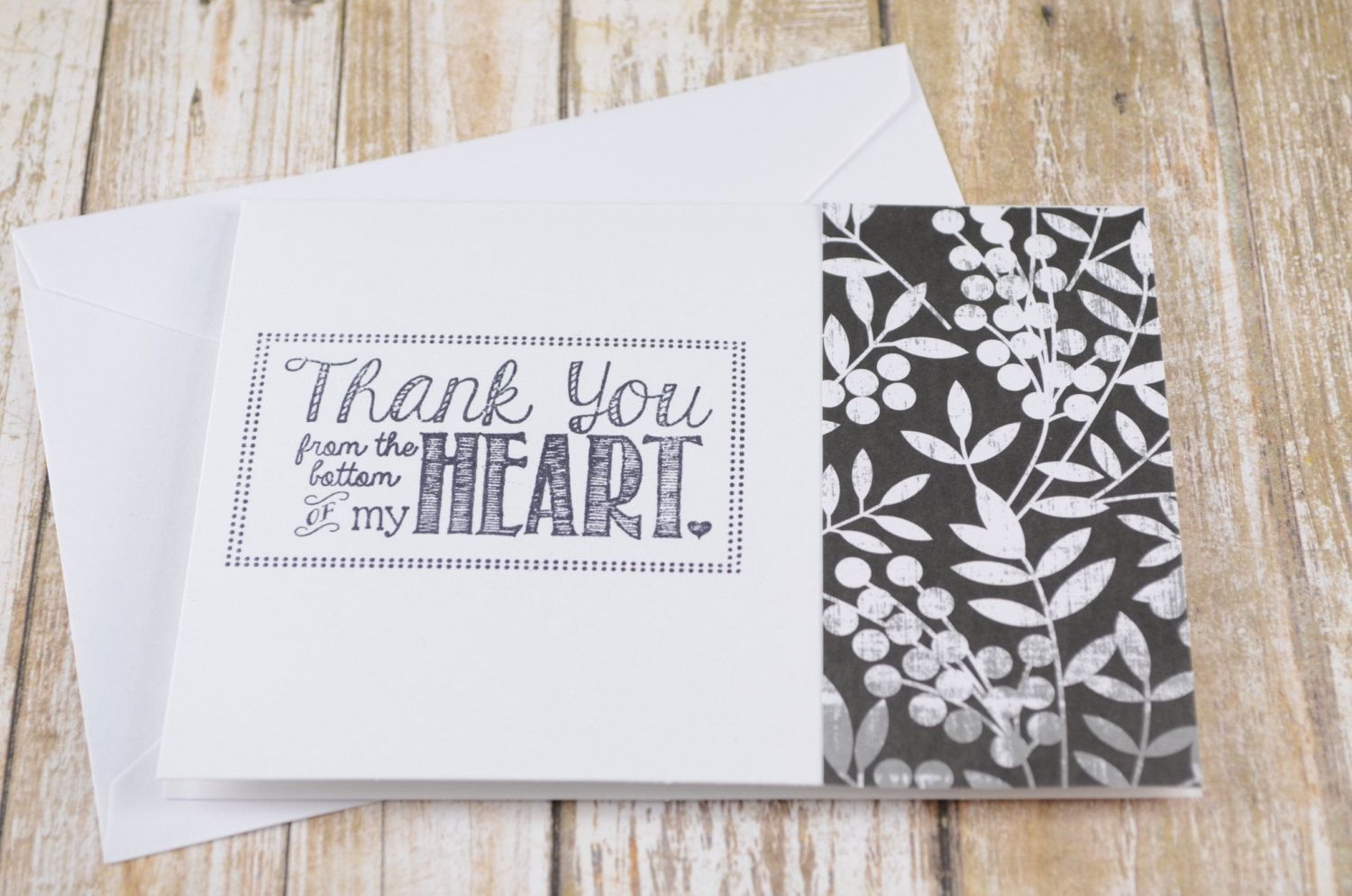 Thank You Card Thank You Note Card Floral Card Heart Card