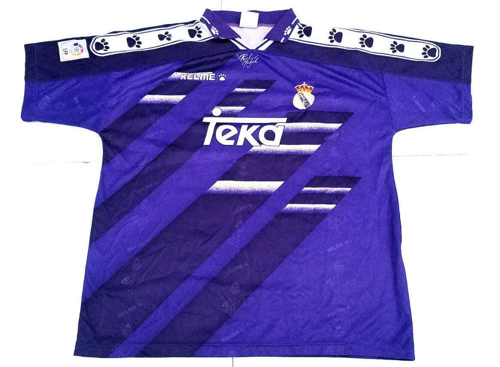 Kelme Real Madrid Teka Vintage Purple Away Soccer Jersey Size Xl 49 99 Picclick