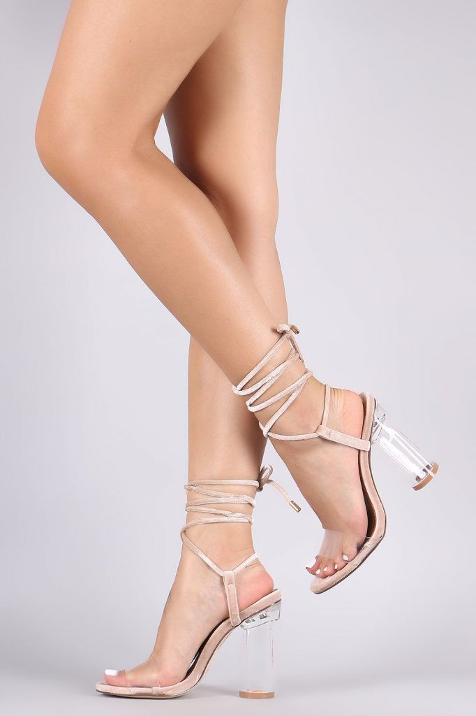 0efc17f93492 ONLINE EXCLUSIVE These nude and transparent lace up sandals feature a  transparent perspex toe strap