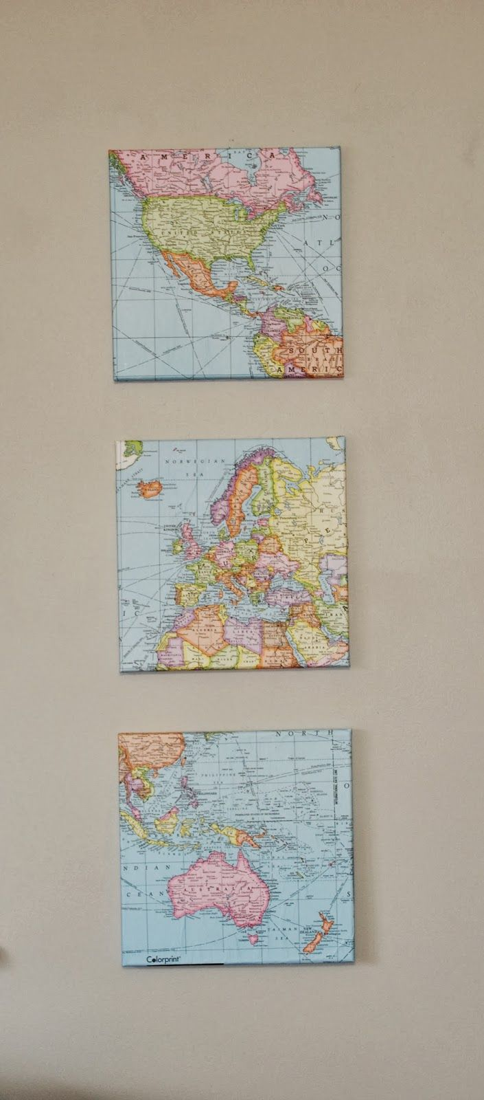 Gingerly Made: Map Wall Art This would work in boys room. Framed?