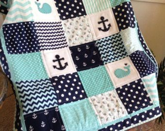 Nautical Anchor Baby Whale Quilt In Aqua Navy And White Available