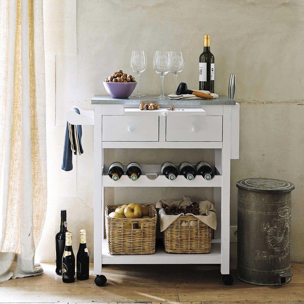 Carrello bianco in pino 2 cesti | Arredamento | Pinterest ...