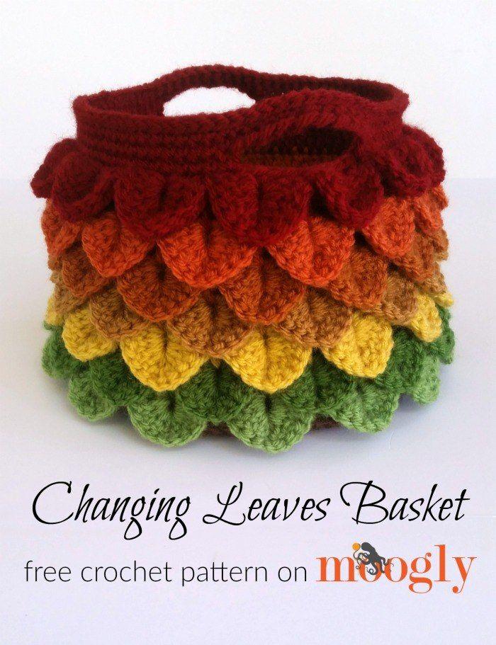 Changing Leaves Basket | knitting & crochet | Pinterest | Bolsos ...