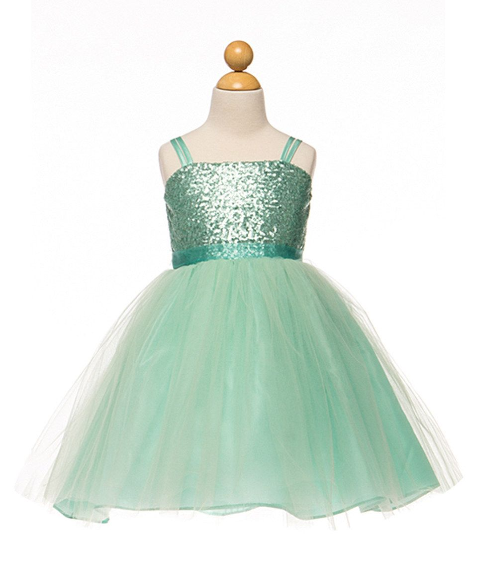 Love this Petite Adele Mint Sequin Overlay Dress - Toddler & Girls by Petite Adele on #zulily! #zulilyfinds