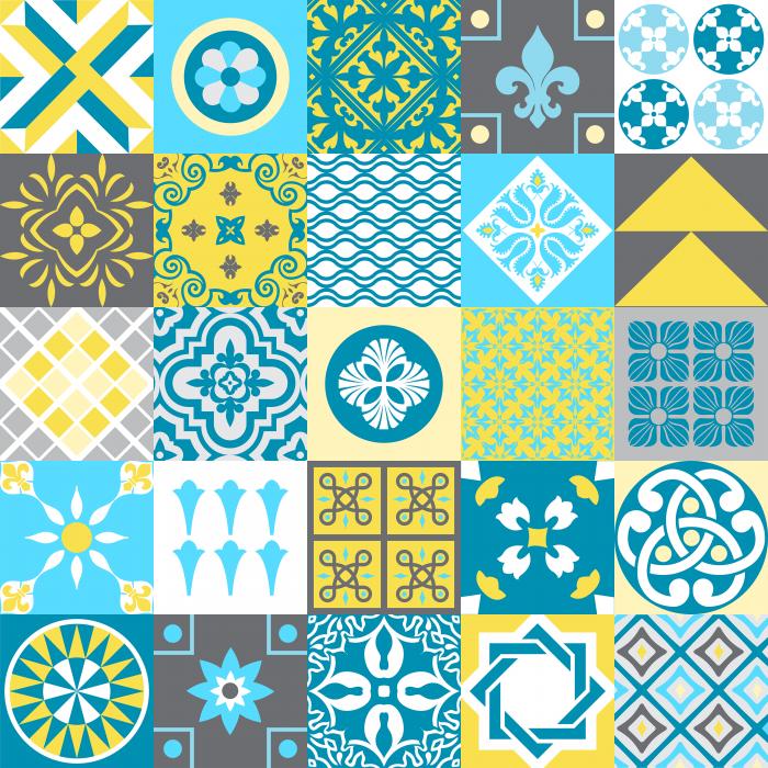 Descreva Artesanato Manufatura E Maquinofatura ~ Adesivo de azulejo hidráulico azul amarelo 05 15×15 Adesivos de Azulejos para renovar