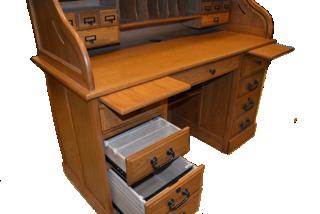 Solid Wood Oak Roll Top Executive Desk 54x24x44 5 Home Office Organizer Desk Home Office Organization Desk Organization Office Solid Oak Desk