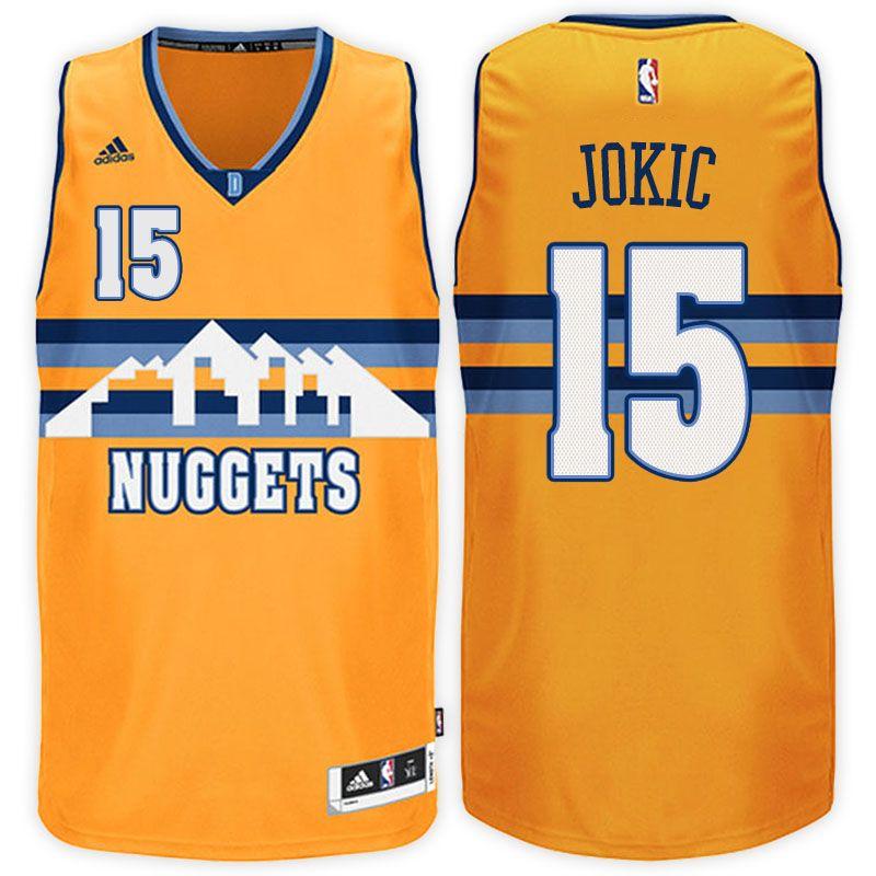 1f866c136 Denver Nuggets  15 Nikola Jokic 2016-17 Alternate Gold New Swingman Jersey