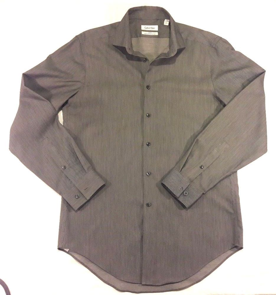 867da21db0d Mens Size 15 32 33 Slim Fit Grey Calvin Klein Performance Non-Iron Shirt   fashion  clothing  shoes  accessories  mensclothing  shirts (ebay link)