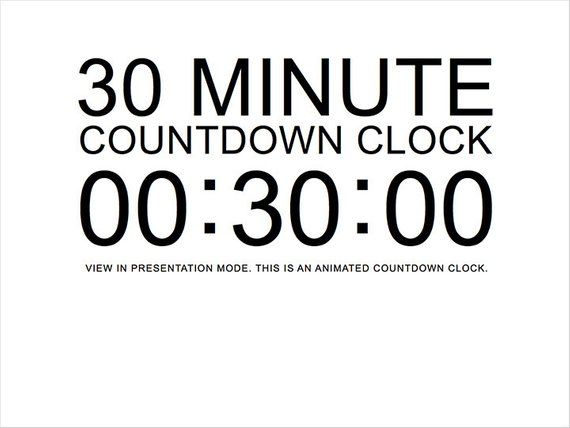 30 Minute White Countdown Clock Presentation PowerPoint