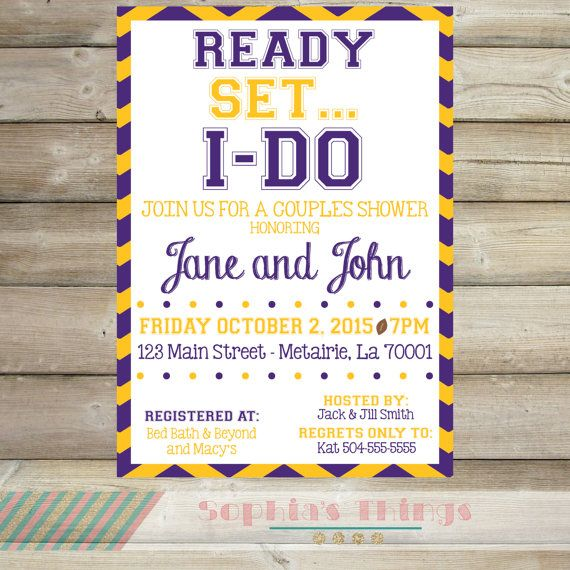 purple and gold lsu couples shower invitation by