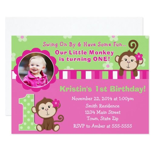 Monkey Girl 1st Birthday Invitation 5x7 Photo Card Photo cards - invitation card for ist birthday