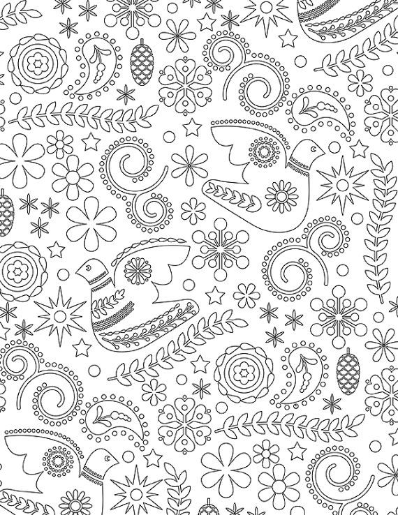 Scandinavian Christmas Floral Adult Child All Ages Coloring Book Page Digital Download