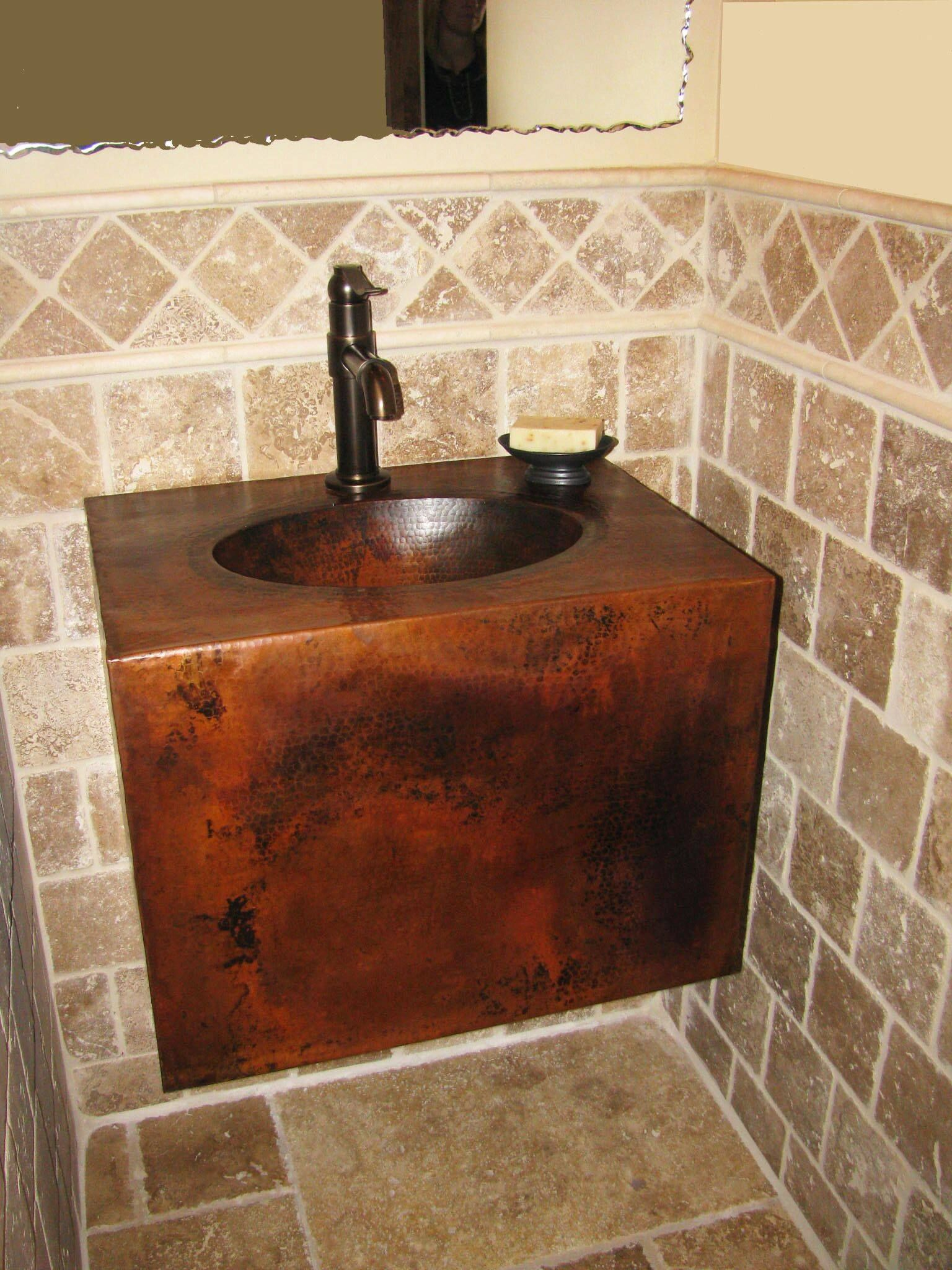 A Beautiful Install Of Our Hand Hammered Copper Wall Mount Vanity