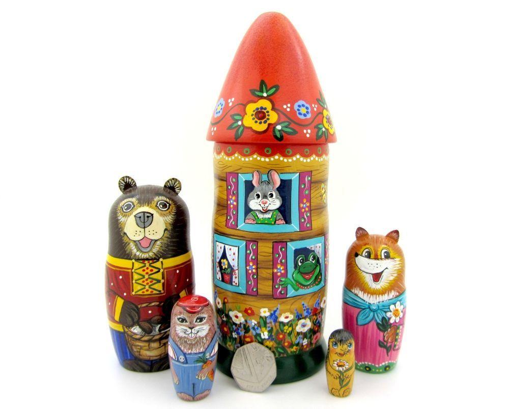 genuine russian hand painted 5 nesting dolls fairy tale teremok