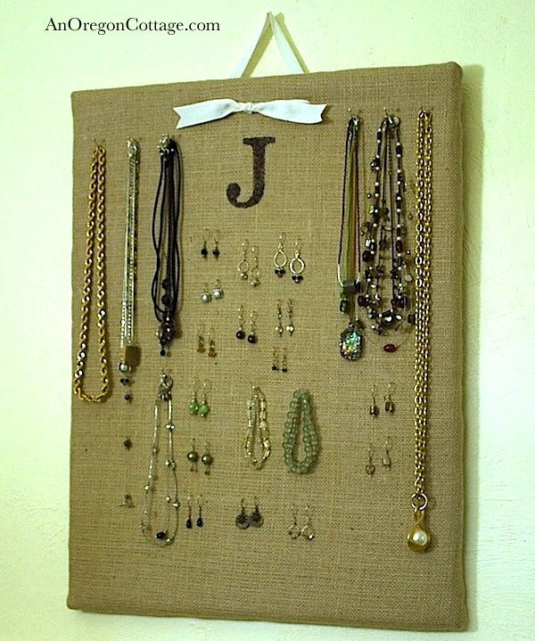 Burlap Jewelry Organizer Burlap Jewelry boards and Organizations
