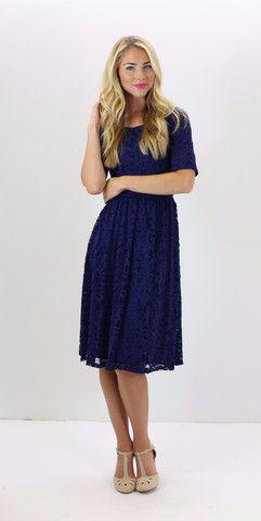 45c396765c14 Samantha Dress - Navy - modest fashion, knee-length classy dress from  www.ModestPop.com