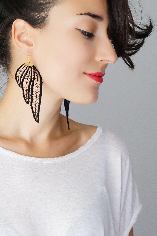 Tubero Statement Earrings Lace Earrings Black