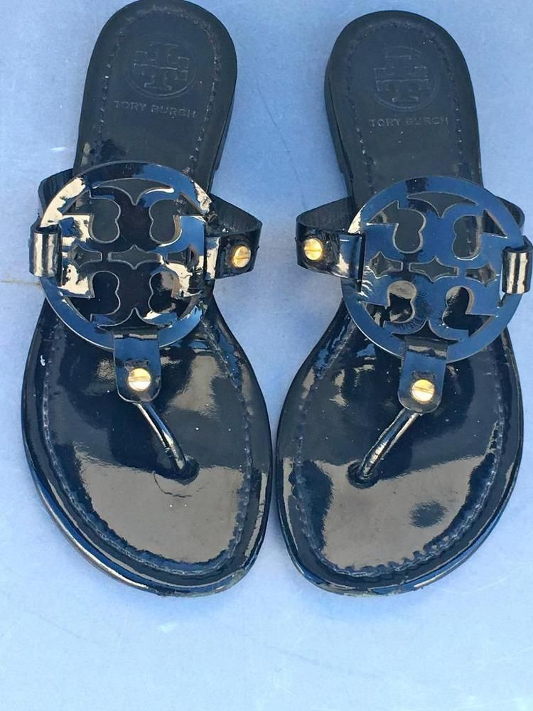 7de70b4f96cb64 Tory Burch Miller SIZE 7.5 M~Black Patent Leather Logo Flat Sandals~MADE  BRAZIL  ToryBurch  SANDALS  Casual