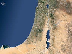 Satellite map of Israel and surrounding regions showing Jordan