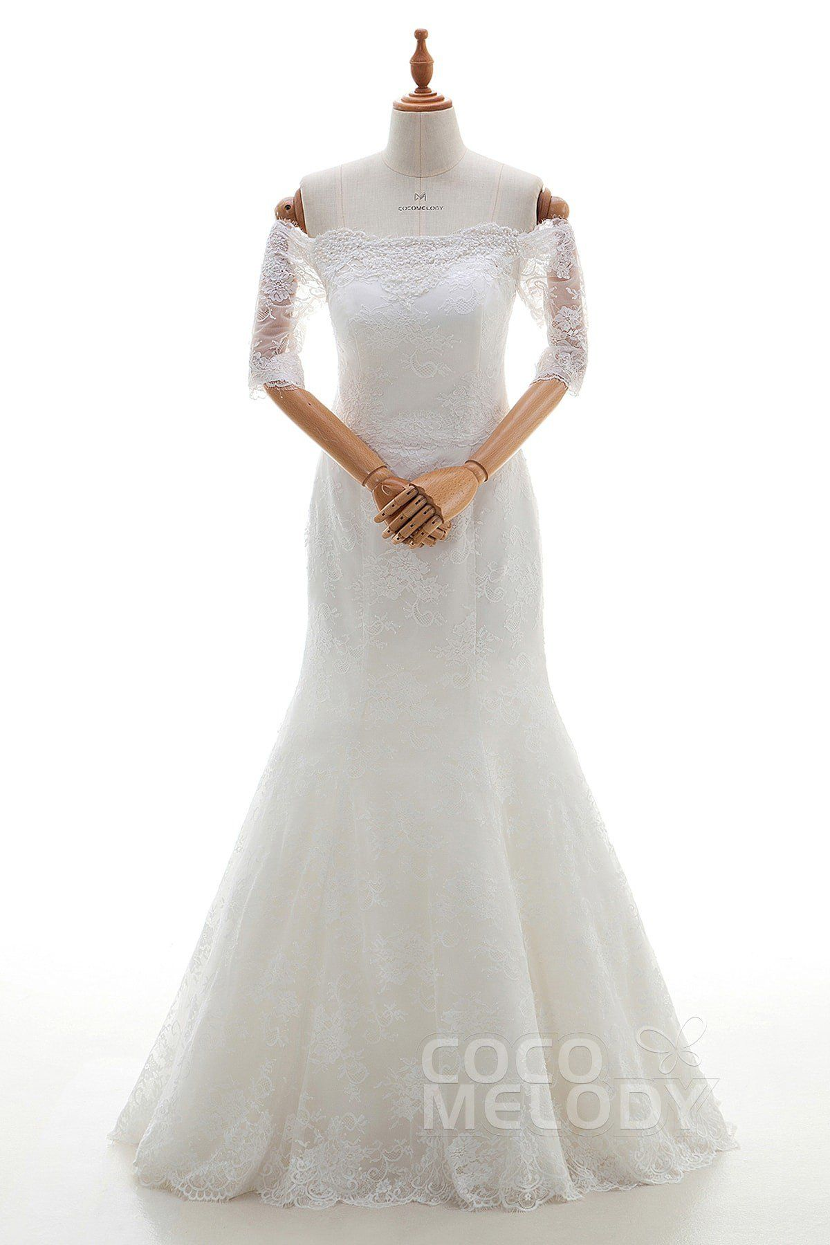 Pretty trumpetmermaid off the shoulder natural floor length tulle