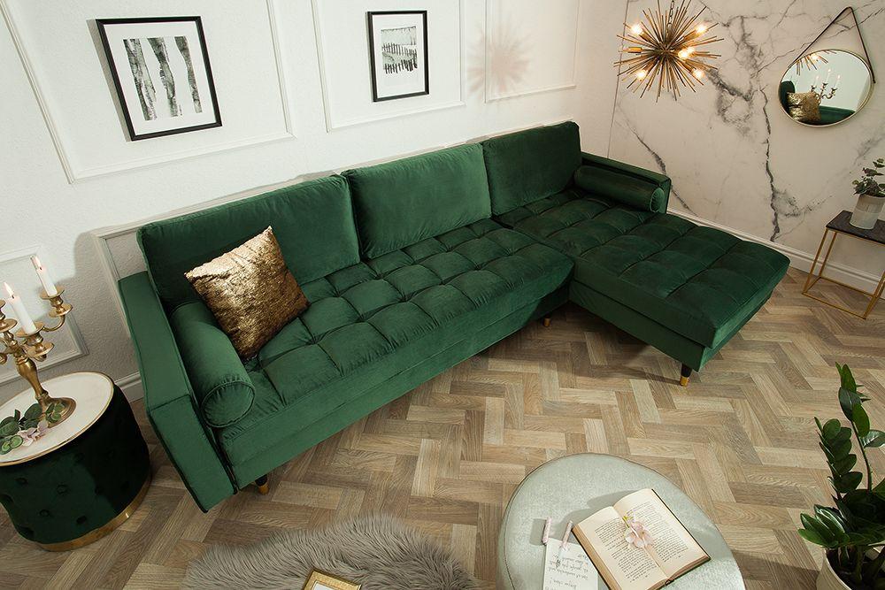 Elegantes Ecksofa Cozy Velvet 260cm Grun Samt Federkern 3er Sofa Riess Ambiente De 3er Sofa Grunes Samtsofa Ecksofa
