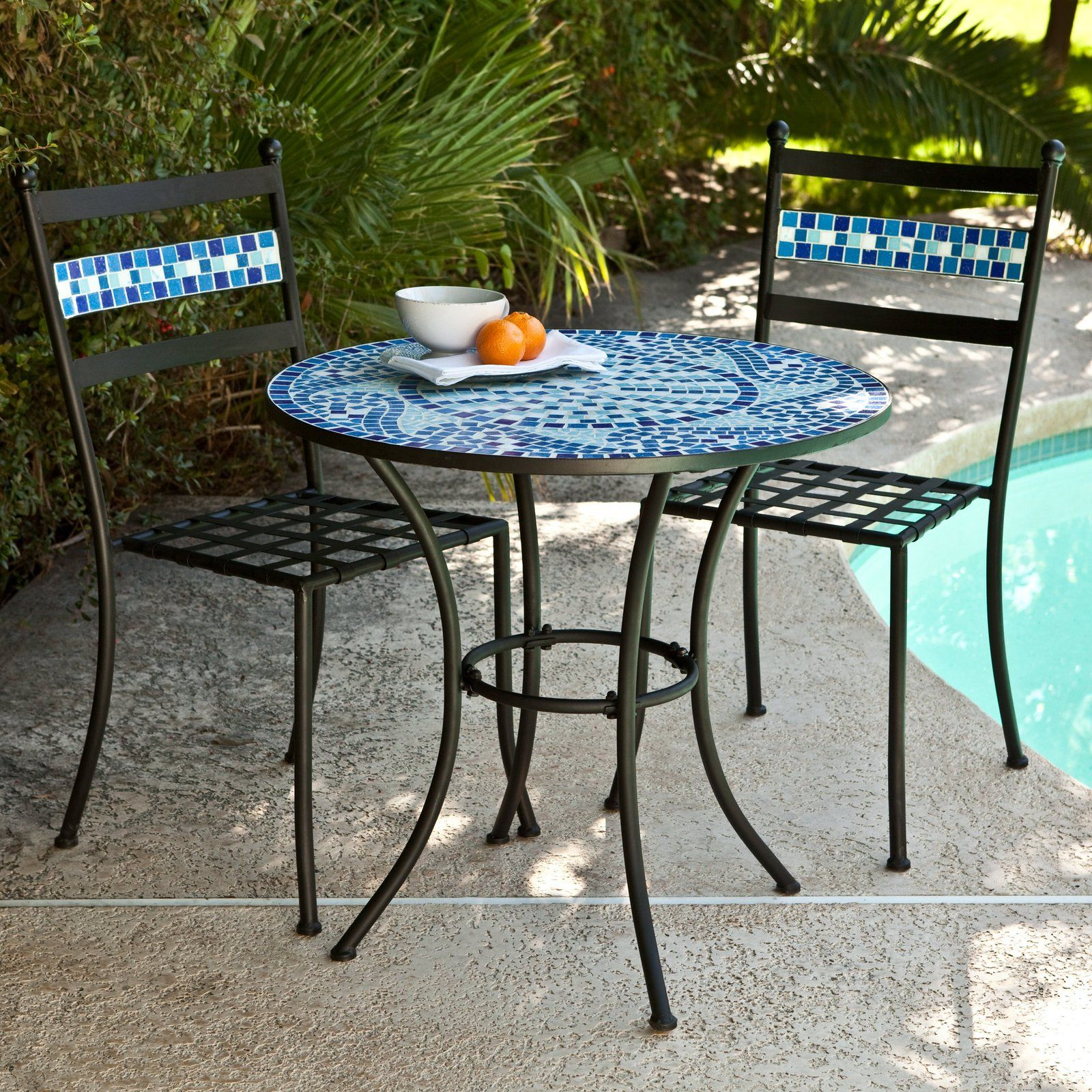 Patio Bistro Set With Chairs And Mosaic Tile Table Outdoor Patio Furniture Sets Outdoor Patio Decor Outdoor Bistro Set