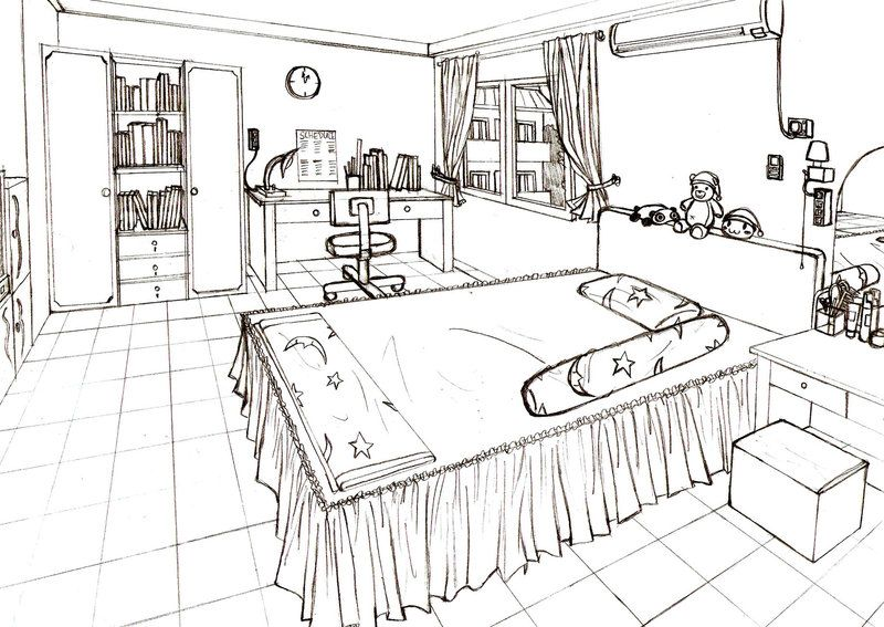 one point perspective bedroom - Google Search | Perspective Drawings ...